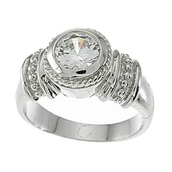 Plutus Brands 925 Sterling Silver Platinum Finish Antique Style Solitaire Engagement Ring 1 Carat Weight- Size 7