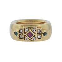 Cartier Emerald Ruby Diamond Gold Ring