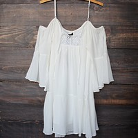 Bohemian Cold Shoulder Dress in White