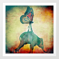 The elephant and the butterfly Art Print by ganech