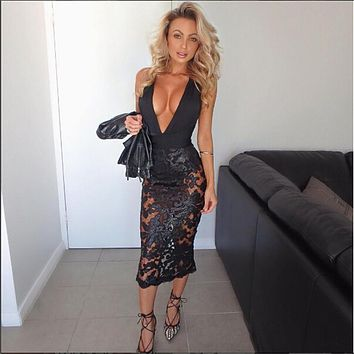 Yissang 2016 new trend sequin bandage dress patchwork floral hollow out nightclub halter backless sexy fashion dresses vestidos