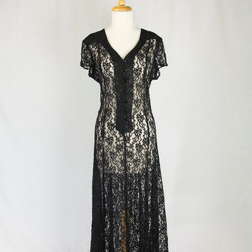 Vintage 1990's Black Lace Dress Boho Button Down Midi Festival Sheer