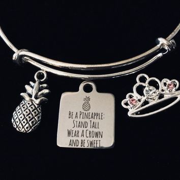 Princess Crown Be A Pineapple Jewelry Adjustable Bracelet Stand Tall Wear a Crown and Be Sweet Expandable Bangle Inspirational Encouragement Gift