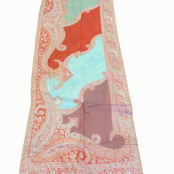 Shawl Wrap Stole Pink Paisley Sequin Embroidered Reversible Pashmina Shawls