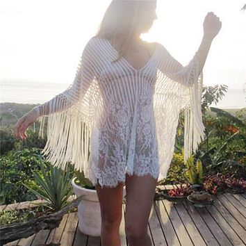 Swimwear Lace Crochet Bikini Cover Up Tassel Hollow Out Swimwear