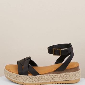 Huarache Style Ankle Strap Flatform Sandals