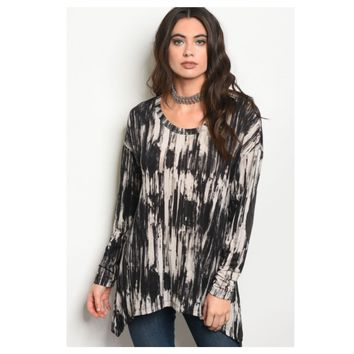 Cozy Soft Black Beige Tiedye Elbow Patch Tunic