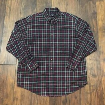 Brooks Brothers 346 Button Down Maroon / Navy / Forest Green Plaid Shirt Mens XL