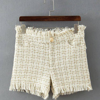 Cream Tassel Detail Tweed Hotpants