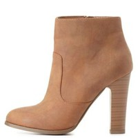 Chunky Heel Ankle Booties by Charlotte Russe - Tan