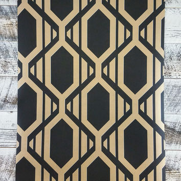 Patton Geometric Black and Gold Diamond Metallic Shades Wallpaper