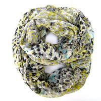 Multicolored Lightweight Infinity Scarf Pretty Spring Double Loop Scarf Chartreuse Aqua Grey Black Winter White Women Teen Accessory