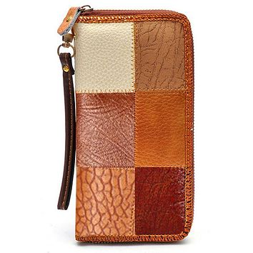 Vintage Wallets Women's Genuine Leather with Pu Color Patchwork Long Day Clutches Purse Wrist Hand Mobile Phone Bags P30
