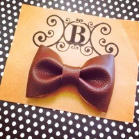 Faux leather walnut brown handmade fabric bow tie or hair bow from Bowlicious Divas Bowtique