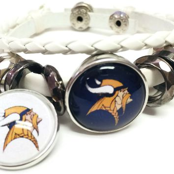 NFL Minnesota Vikings Bracelet NFL Football Fan White Leather Purple & White Logo W/2 18MM - 20MM Snap Charms