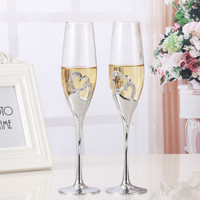 2 PCS Set Crystal Wedding Toasting champagne flutes glasses Cup Wedding Party marriage decoration cup for Gift Wine Drink