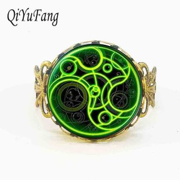 Steampunk doctor who green line time lord 1pcs/lot bronze silver Glass mens Ring jewelry dr who long Rings fans gift adjust size