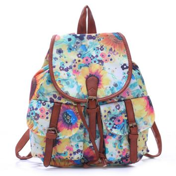 Flower Painting College School Bag Travel Bag Canvas Lightweight Backpack