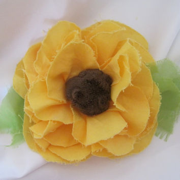 Shabby Frayed Sunflower Cotton Fabric Flower Brooch, Pin, Hair Clip, Curtain Tie Backs