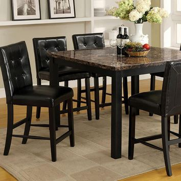 Boulder II Contemporary Square Counter Height Table, Black