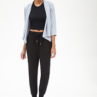 FOREVER 21 High-Waisted Drawstring Joggers Black