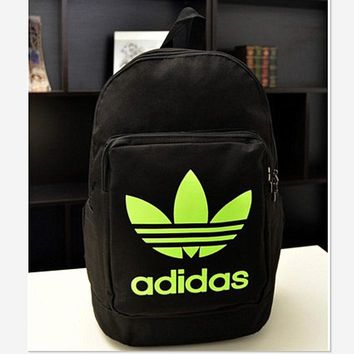 ADIDAS Fashion Hot Women Men Backpack Black(fluorescence green)