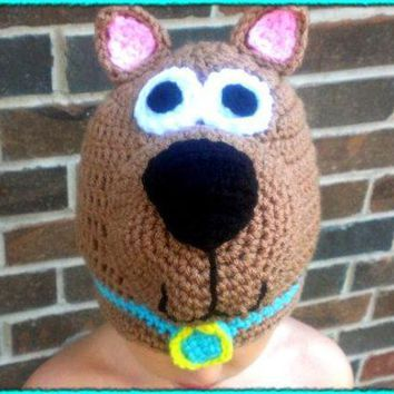 ONETOW free shipping,100% cotton Halloween cartoon baby scooby-doo hat , new handmade Crochet  baby dog hat Christmas gift
