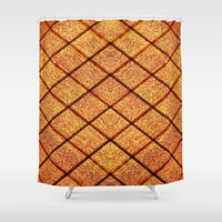 Wooden Texture Tile Shower Curtain by Maxvision