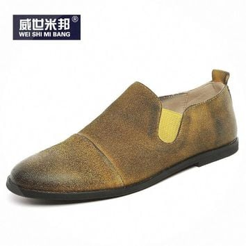 US6-10 Retro Mens Round Toe Casual Leather Shoes Business Man Slip On Oxfords Fashion Loafer Driving Car Shoes
