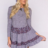 Pretty In Purple Floral Ruffle Long Sleeve Dress