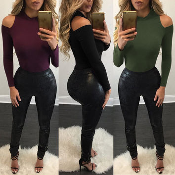 Sexy Bear Shoulder High Neck Slim Women's Blouses