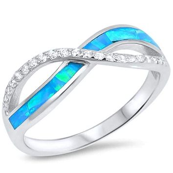 Blue Lab Opal with Clear Cubic Zirconia Stones Set in Infinity Twist Sterling Silver Band
