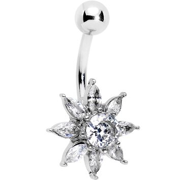 Clear Gem Flourishing Flower Belly Ring