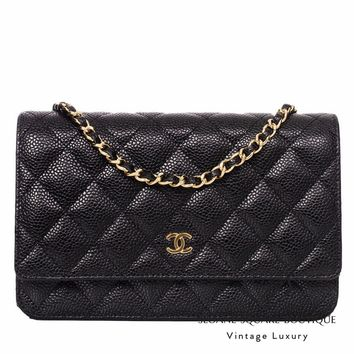 CHANEL WOC CAVIAR QUILTED WALLET ON CHAIN BLACK MINI BAG GOLD HARDWARE GHW