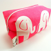 Pink and White Elephant Pouch, Boxy Makeup bag, Pencil Case, Cosmetics, Under 15, Gift for Her