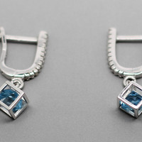 Hollow Cube Blue Topaz Sterling Silver Earrings, 925 Topaz Ear Studs, November Birthstone, Anniversary, Birthdays, Wedding, Valentine Gift