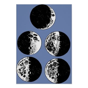 Moon phases Sketches Astronomy Antique Art Poster