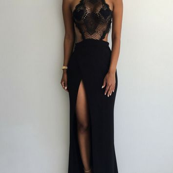 Black Lace Backess Dress
