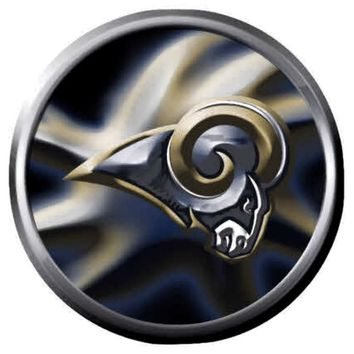 NFL Superbowl LA Rams Swirl Cool Football Fan Logo 18MM-20MM Snap Jewelry Charm New Item