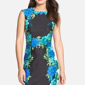 Women's Chetta B Placed Floral Print Sheath Dress,