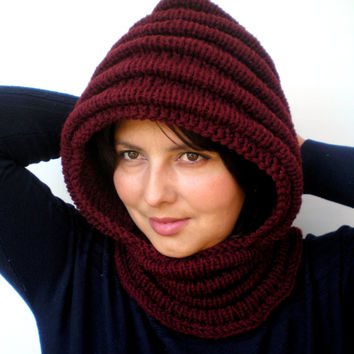 Burgundy Marsala Wave Chunky Knit Hood  Soft Mixed Wool Woman Hooded Scarf Cowl Fall Winter Accesories NEW