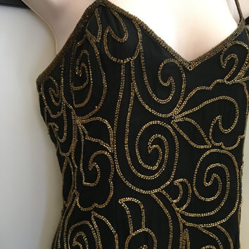 Beaded Gown, Floor Length Gown, Tall Vintage Dress, Vintage Formal Gown, Gold Bead Dress, Black and Gold Dress, Silk Gown, Medium