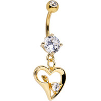 Clear Cubic Zirconia Gold Plated Curvy Hollow Heart Dangle Belly Ring | Body Candy Body Jewelry
