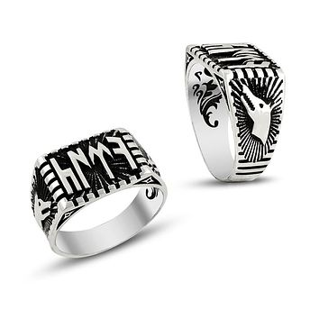 Wolf and turkish monogram sterling silver mens ring
