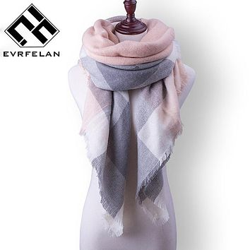 Za New Fashion Brand Winter Scarf For Women Scarf Women Warm Plaid Cashmere Scarves Female Pashmina Shawls Wraps Free Shipping