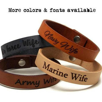 Army Wife, Navy Wife, Air Force Wife, Marine Wife, Leather Bracelet, Laser Engraved Military Bracelet, Personalized Gifts, Mothers Day Gift