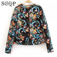 SCQP Floral Print Womens Jackets Winter O Neck Zippers 2015 New Women Coats And Jackets Autumn Office Cotton Women's Jacket