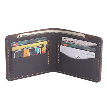 Men's Leather wallet - Bifold Men's Leather Wallet - Handmade Credit Card Wallet - Groomsamn Gift - Father's Day Gift