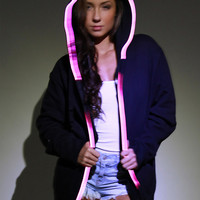 Light-up HOODIE Sweatshirt - el wire color options blue, pink, red, green