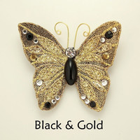 Handmade and Hand Painted Fabric Magnetic Butterfly Brooch with Swarovski Crystals